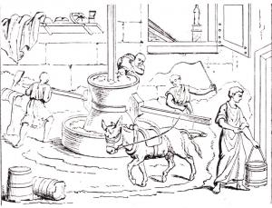 Mühle mit Lasttieren